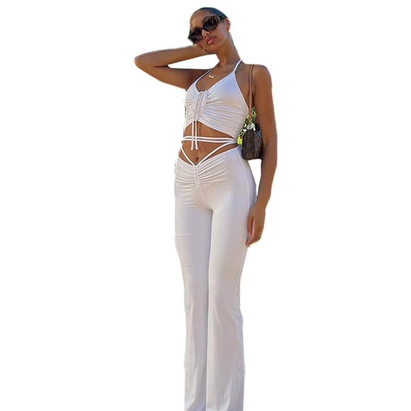 flare pants and crop top set-white-front view
