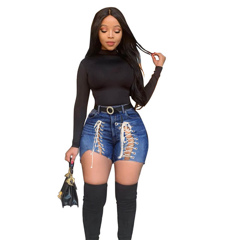 lace-up denim shorts-dark blue-front view