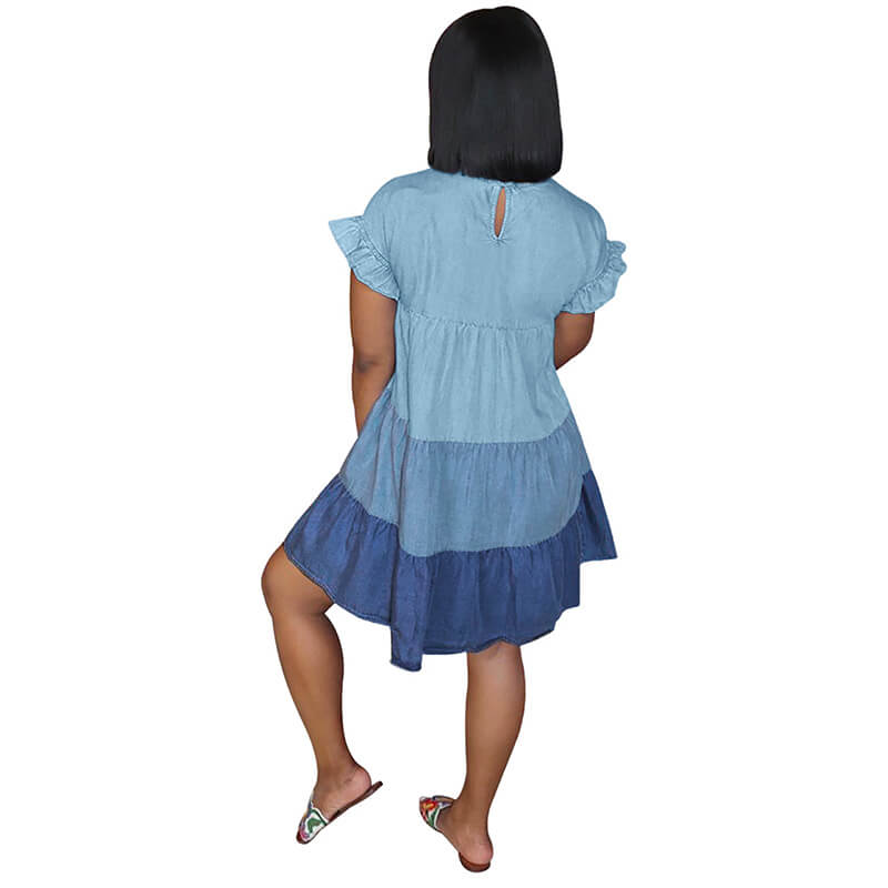 loose summer dresses-blue-back view