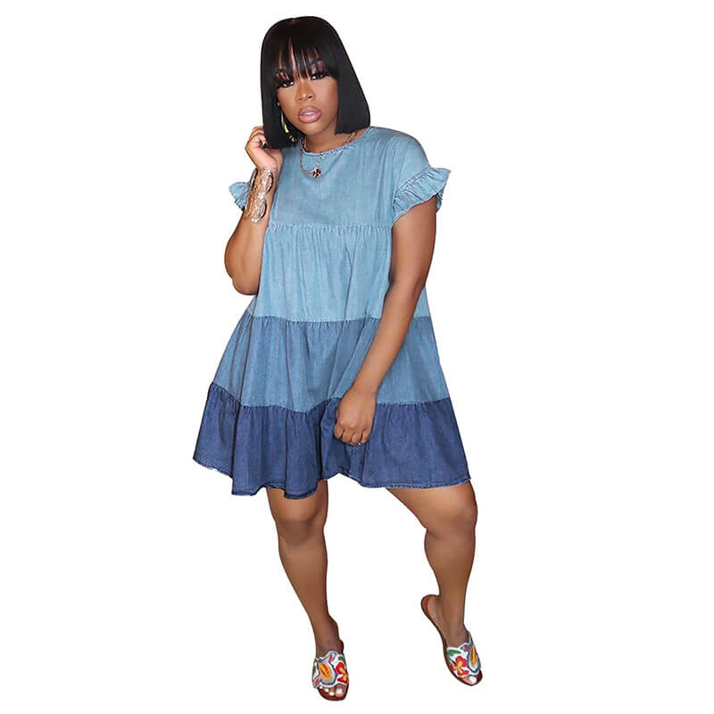 loose summer dresses-blue-front view