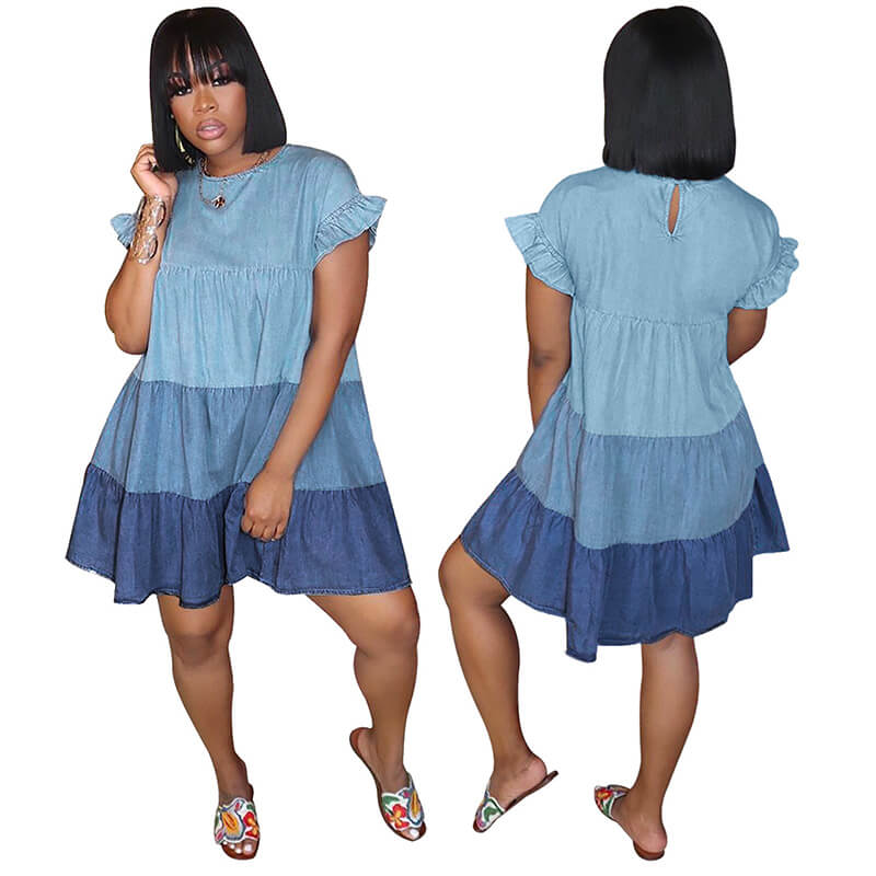 loose summer dresses-blue-model front and back view