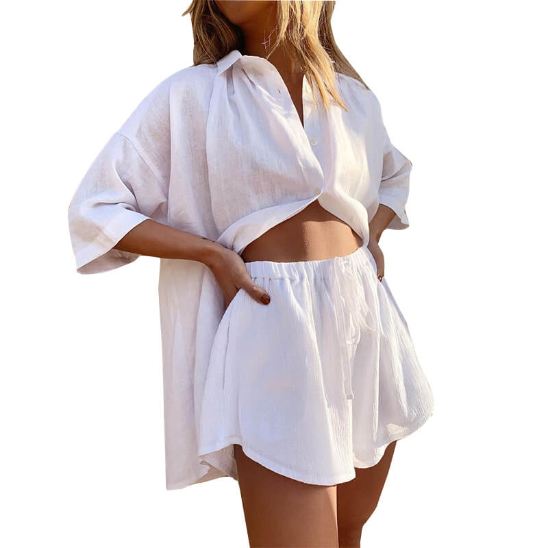 matching shirt and shorts set-white-offside view