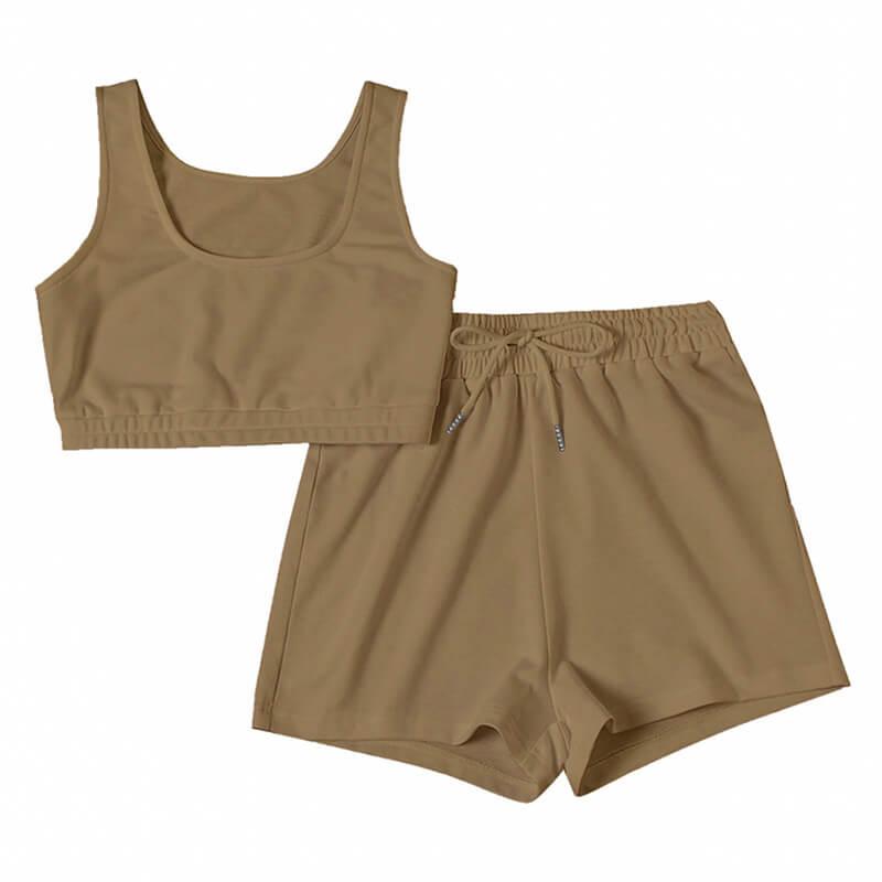 matching sweatshirt and shorts set-khaki