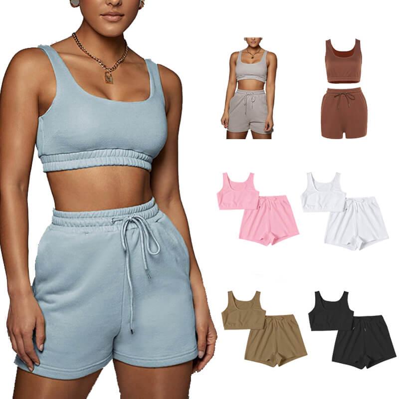 matching sweatshirt and shorts set-model view