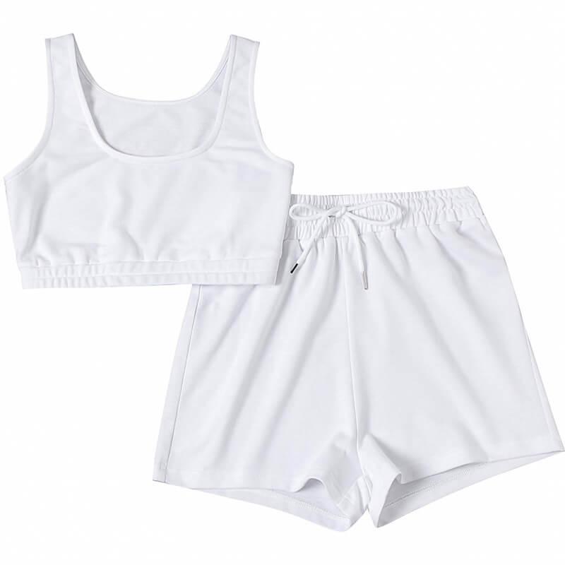 matching sweatshirt and shorts set-white