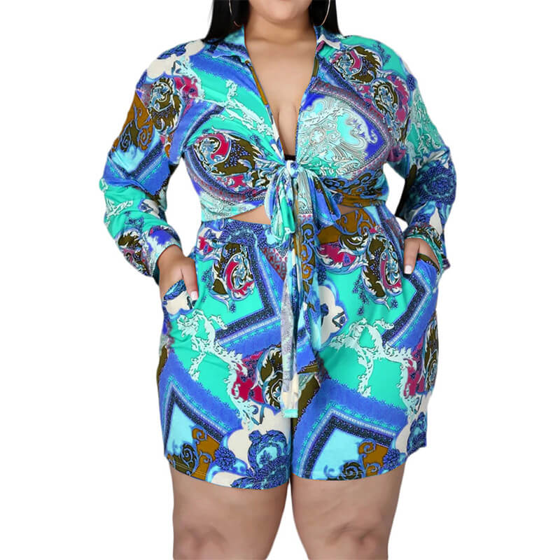 plus size shorts and top set-blue