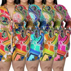 plus size shorts and top set-model view