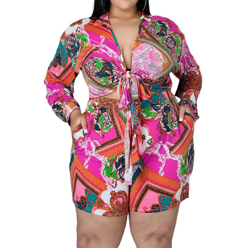 plus size shorts and top set-rose red