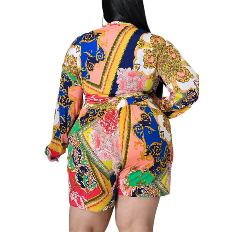 plus size shorts and top set-turmeric-back view