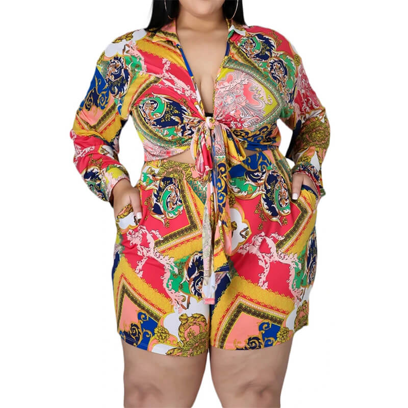 plus size shorts and top set-turmeric-front view