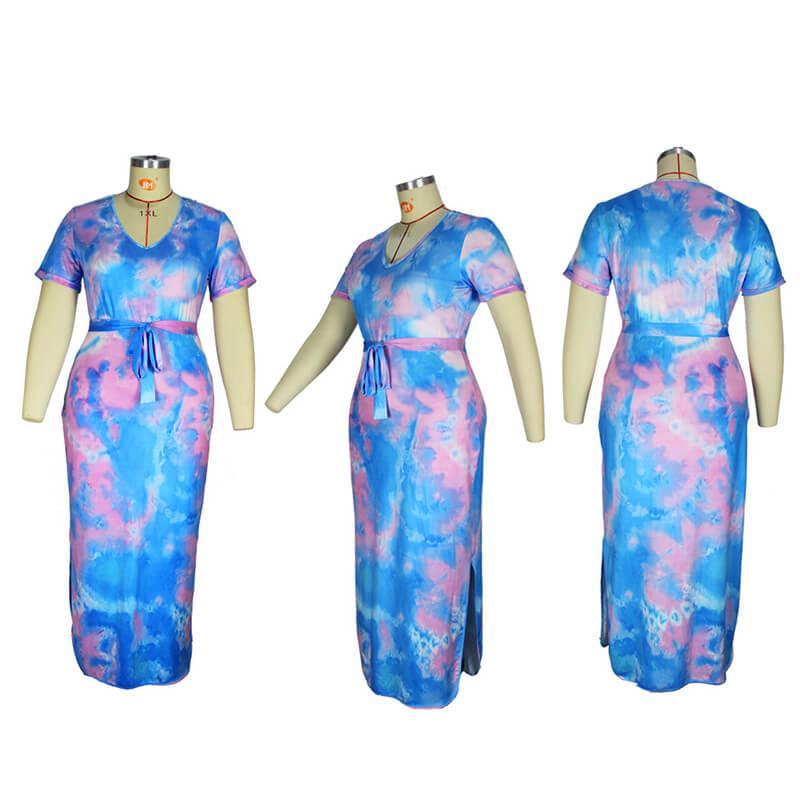plus size tie dye maxi dress-model view