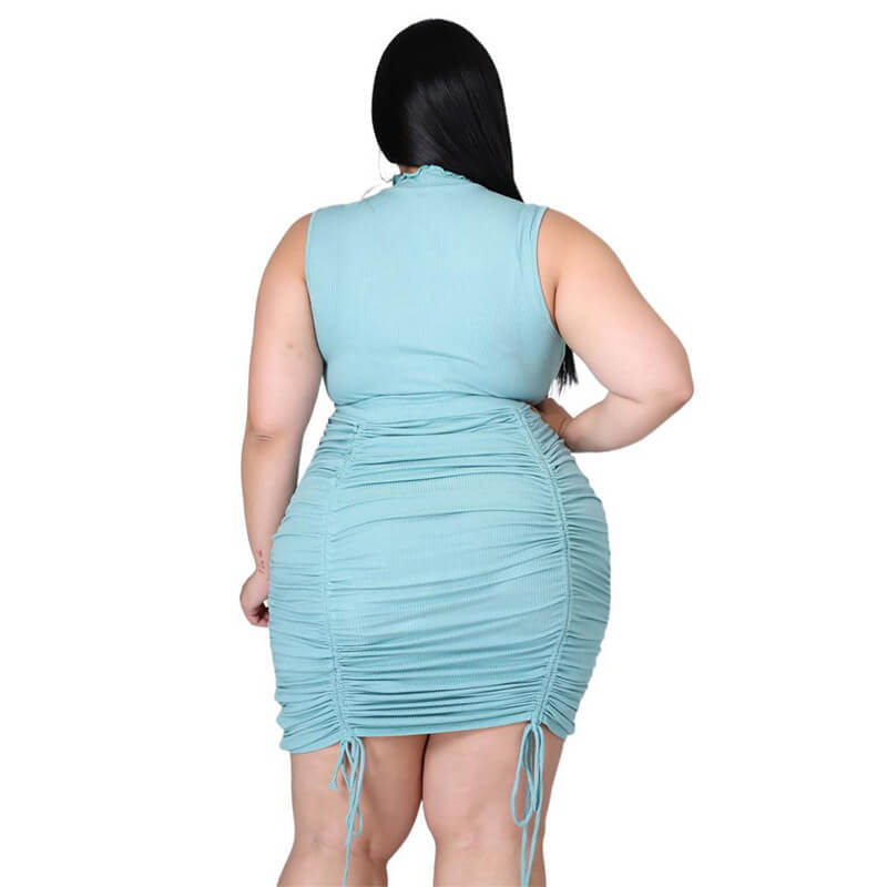 sexy plus size summer dresses-blue-back view
