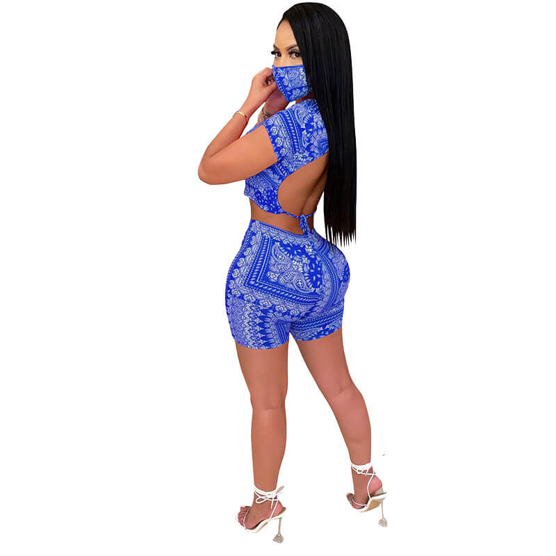 sexy two piece sets-blue-back view