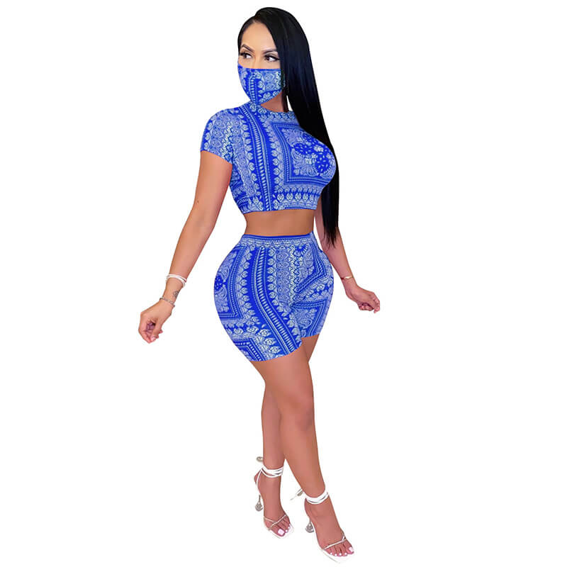 sexy two piece sets-blue-left side view