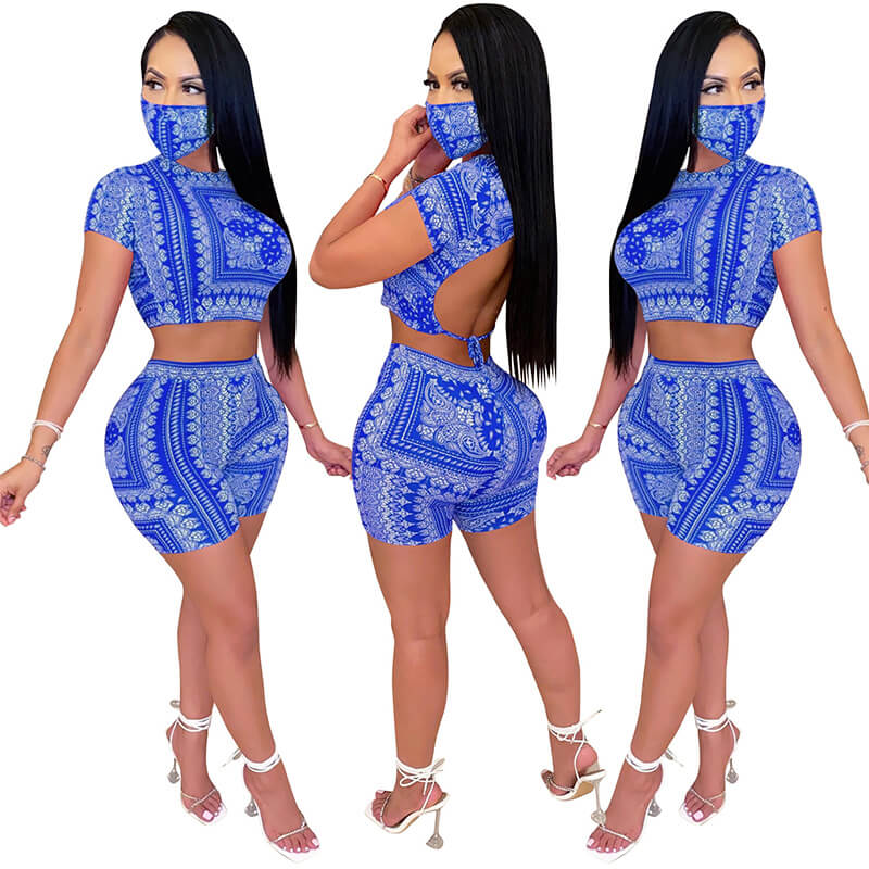 sexy two piece sets-blue-model view