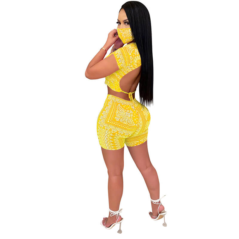 sexy two piece sets-yellow-back view