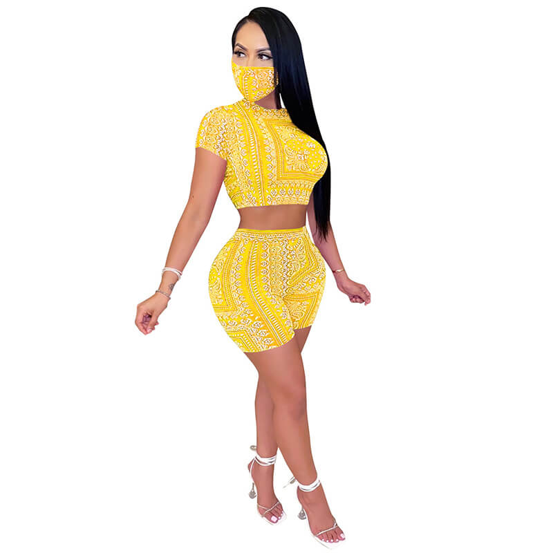 sexy two piece sets-yellow-left side view
