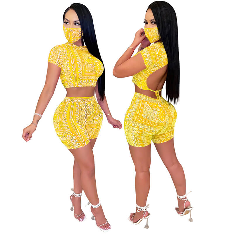 sexy two piece sets-yellow-model front view