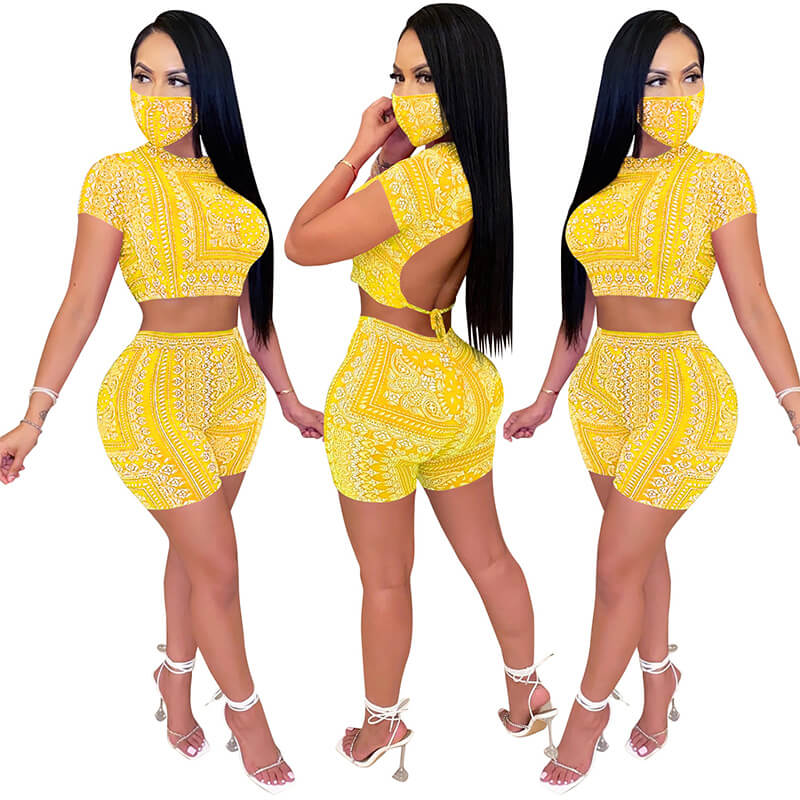 sexy two piece sets-yellow-model view