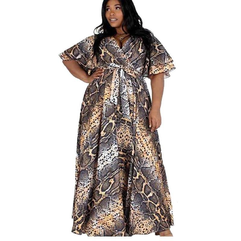 snake print dress plus size-front view