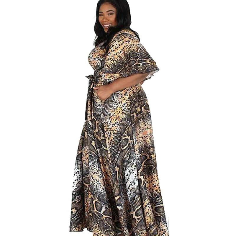snake print dress plus size-left side view