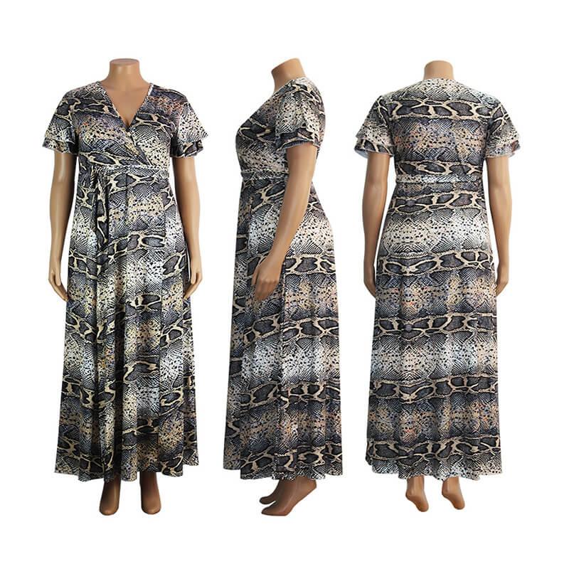 snake print dress plus size-model view