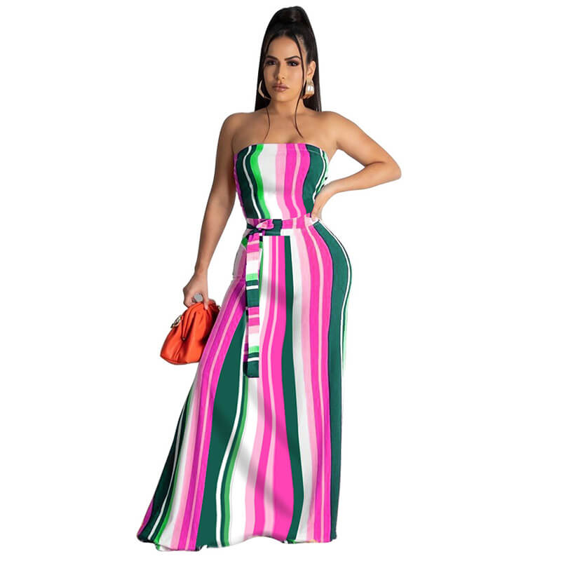strapless maxi dress-rose red-front view