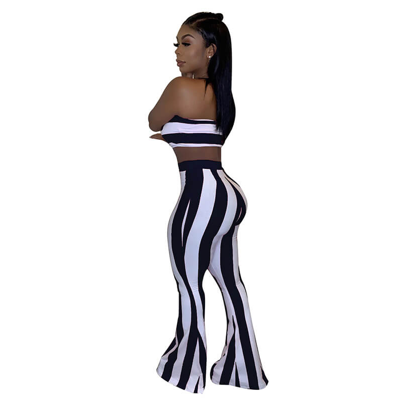 striped two piece set-black and white-back view