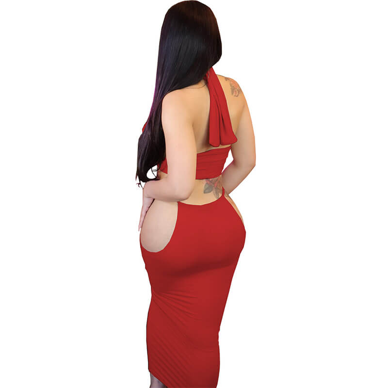 two piece long skirt set-red-back view