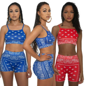 two piece sets shorts and top-model offside view