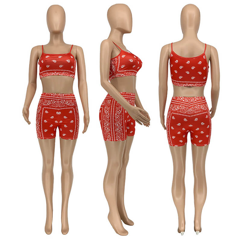 two piece sets shorts and top-red-mdoel view