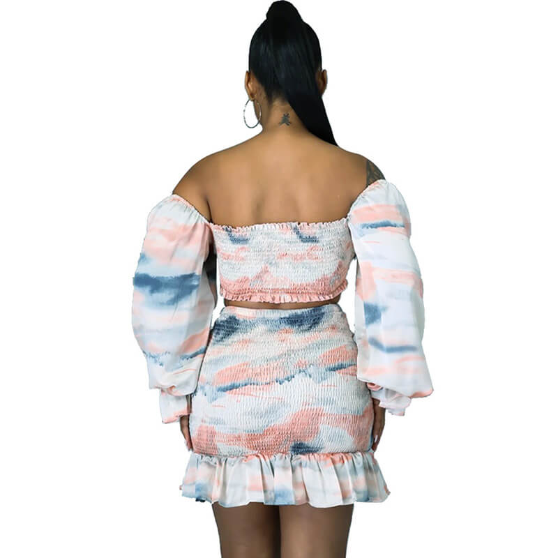 two piece skirt set long sleeve-back view