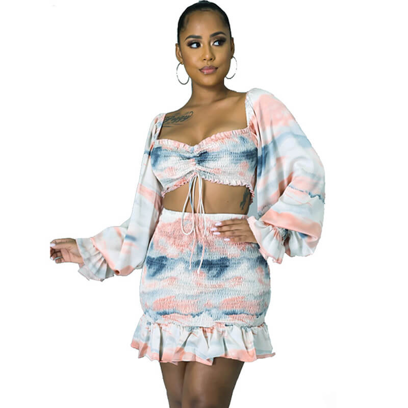 two piece skirt set long sleeve-front view