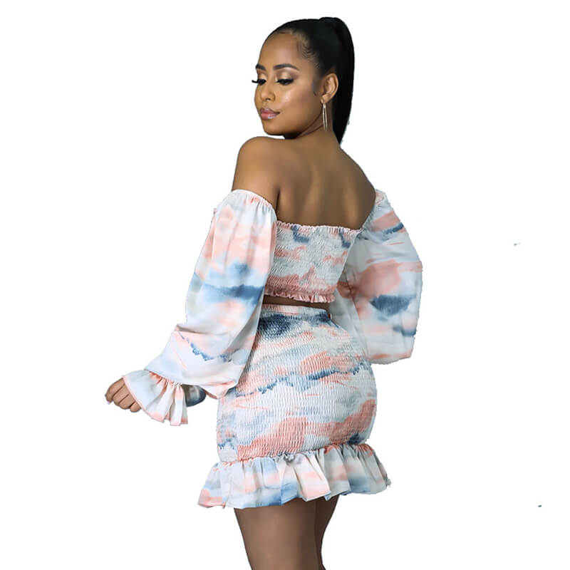 two piece skirt set long sleeve-left side view