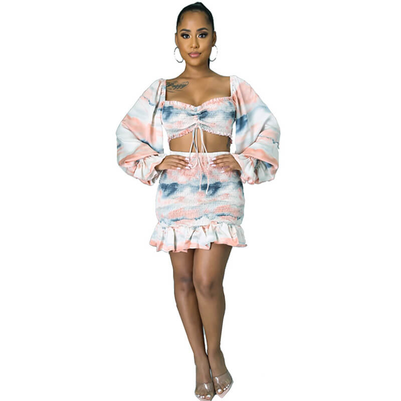 two piece skirt set long sleeve-model view
