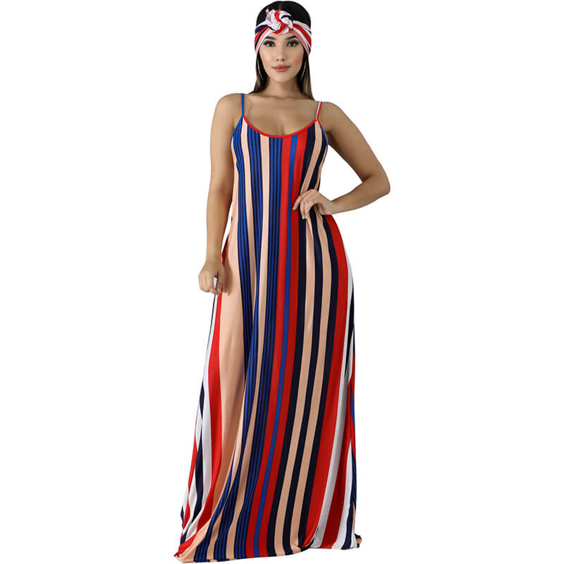 backless summer dress-red-front view
