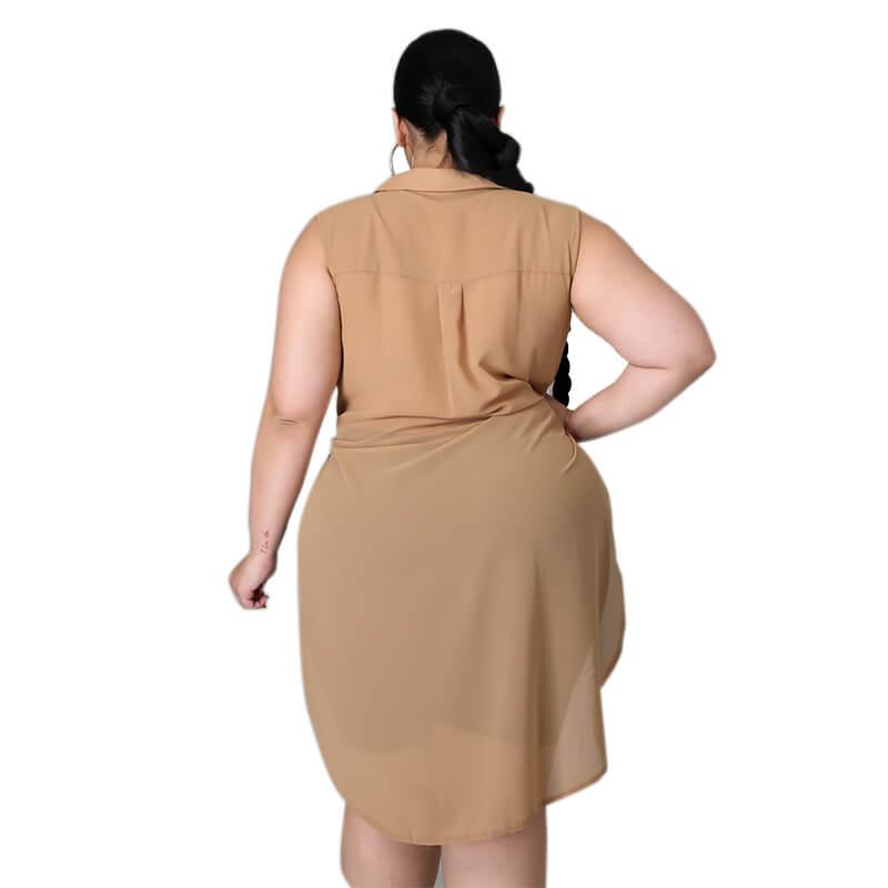 chiffon blouse plus size-apricot -back view