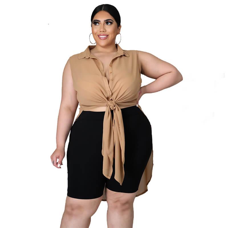 chiffon blouse plus size-apricot-front view