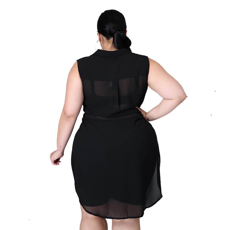 chiffon blouse plus size-black-back view