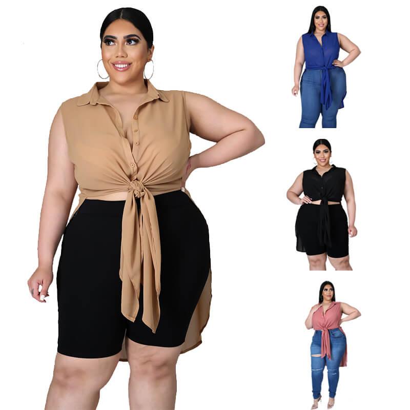 chiffon blouse plus size-model view