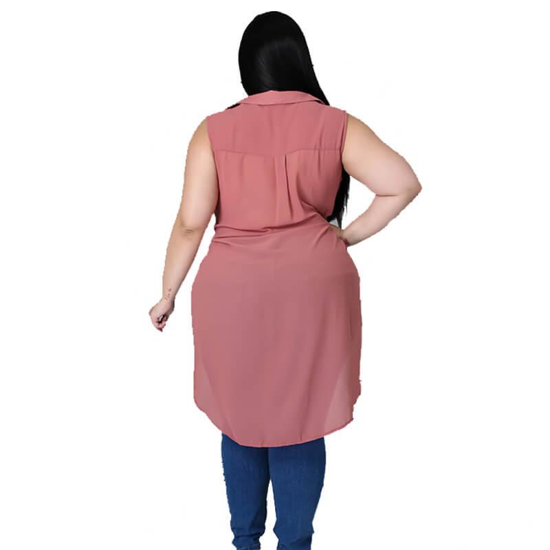 chiffon blouse plus size-pink-back view