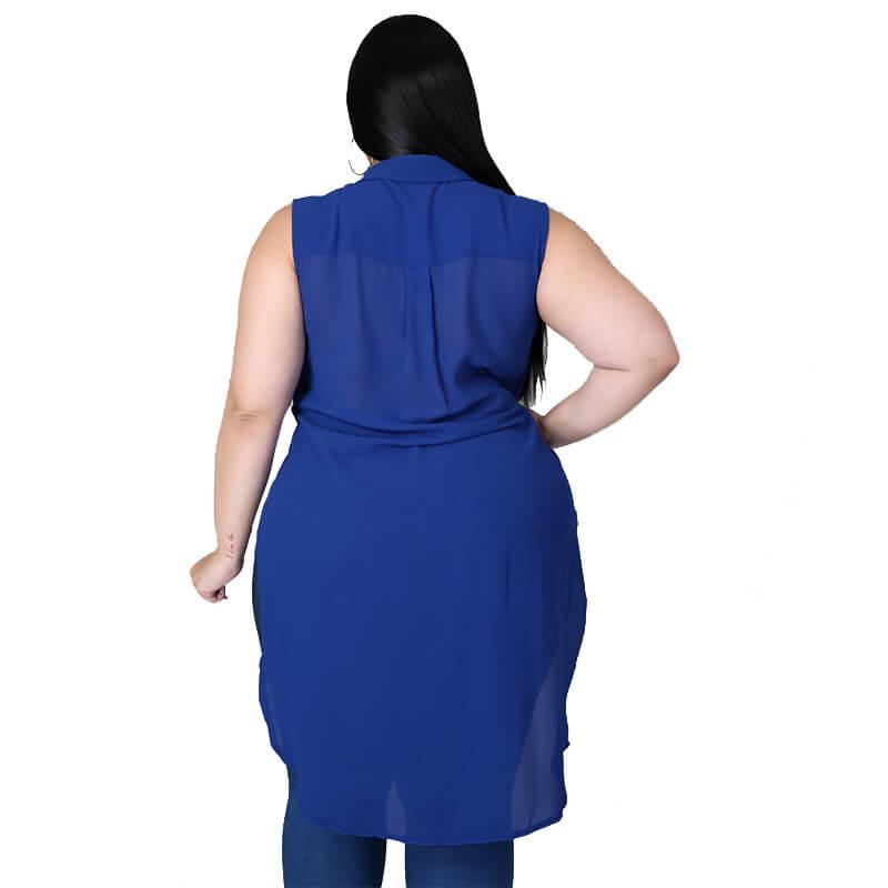 chiffon blouse plus size-royalblue-back view