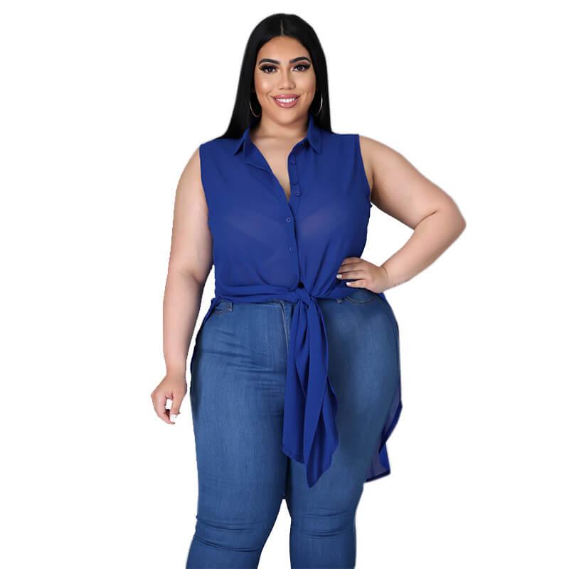 chiffon blouse plus size-royalblue-front view