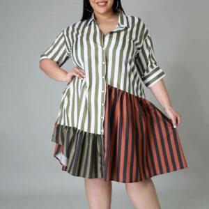 plus size casual dresses - brown color front