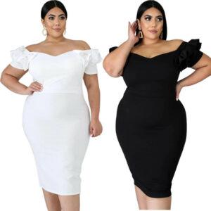 plus size one shoulder dress-model view