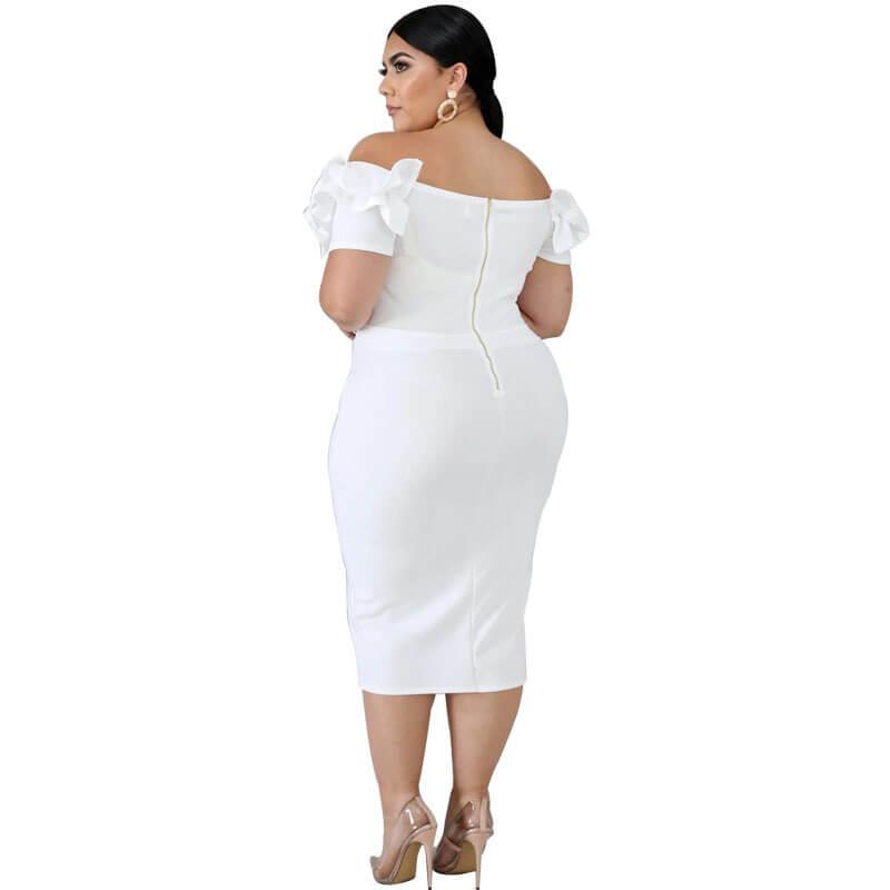 plus size one shoulder dress-white-back view