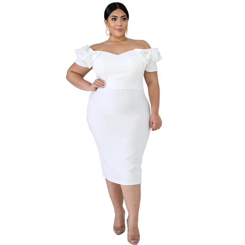 plus size one shoulder dress-white-front view