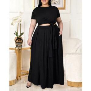 plus size two piece skirt set -black front view
