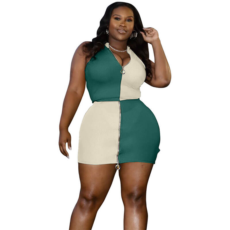 plus size two piece skirt set-green-front view