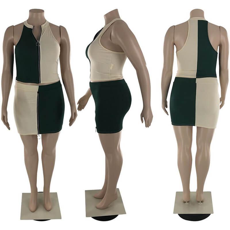 plus size two piece skirt set-green-model view